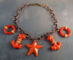 Star Anchors Red Bakelite Necklace