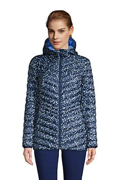 Women's Ultralight Packable Down Jacket with Hood Print | Lands' End
