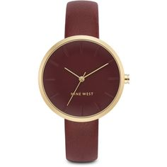 Nine West Makenah Round Strap Watch ($49) ❤ liked on Polyvore featuring jewelry, watches, oxblood, leather jewelry, dial watches, leather strap watches, leather-strap watches and nine west