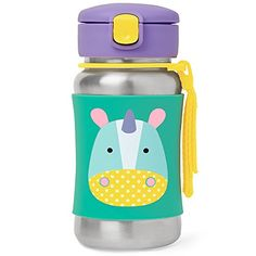 Skip Hop Baby Zoo Little Kid and Toddler Feeding Travel-To-Go Insulated Stainless Steel Straw Bottle, 12 oz, Multi Eureka Unicorn - Chill your drink-not your hands-with a Zoo pal. Our kids stainless steel water bottle has a no-slip silicone sleeve to protect little hands from cold surfaces. Featuring our signature Skip Hop Zoo characters, it has a handy grab-me strap that attaches to anything, along with a pop-up lid so the f...