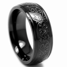 7MM BLACK Stainless Steel Ring With Engraved Florentine Design Sizes 9 to 12: Jewelry: Amazon.com