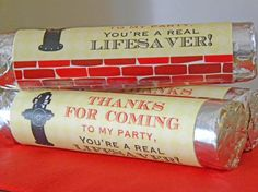 Vintage Fire Truck Lifesaver Wrappers by passforparties on Etsy, $4.00