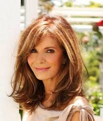 Image result for hairstyles medium to long hair for women over 50 with glasses round face