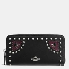 Coach 56522 Western Rivets Accordion Zip Leather Wallet Black NWT $295 #Coach #Accordion