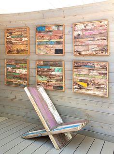 Makes me think of beach shacks or cuba.  Wooden strip wall art