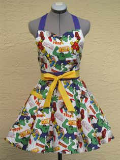 Marvel Characters Full of Flounce Apron by AquamarCouture on Etsy. Nikki, you need to make this for me, thanks