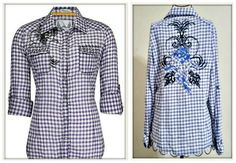 COWGIRL GYPSY TOP Black Crystal & Embroidery on Purple & White Plaid Roll Up Sleeve Shirt