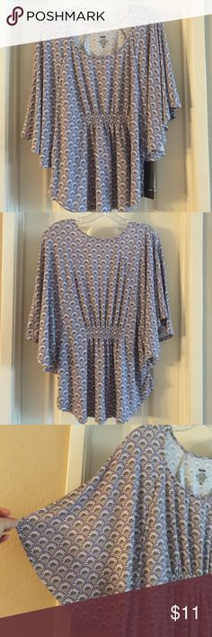 Flutter sleeve top by Mossimo XL Grey w/ white/purple/green fans flutter sleeve rayon/spandex top, Mossimo brand from Target. Women's size XL. Machine wash gentle. Mossimo Supply Co. Tops Blouses