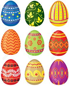 Find Set Color Painted Easter Eggs Vector stock images in HD and millions of other royalty-free stock photos, illustrations and vectors in the Shutterstock collection. Thousands of new, high-quality pictures added every day. Easter Nail Art, Easter Crafts For Kids, Easter Quiz, Happy Easter Wishes, Egg Vector, Easter Egg Designs, Cute Easter Bunny, Christmas Tree With Gifts, Coloring Easter Eggs