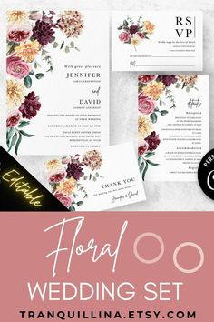 This boho floral wedding invitation set is Editable template. In item description you can find all the details how to order & how it works (click on TITLE) or follow this link: tranquillina.etsy.com to see more of our spring summer wedding sets. #wedding #springwedding #summerwedding #floral #pinkwedding #yellowwedding #emerald #burgundy #bohowedding #bride Burgundy Wedding Invitations, Printable Wedding Invitations, Floral Wedding Invitations, Bridal Shower Invitations, Wedding Trends, Wedding Tips, Boho Wedding, Red Wedding, Pink And Burgundy Wedding