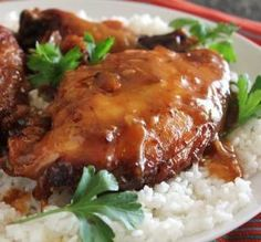 """Slow-Cooker Garlic Glazed Chicken: """"This sauce is delicious, and makes a perfect topping for rice. It flavors and marinates the chicken wonderfully while it's cooking."""" -ninja"""
