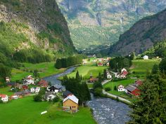 Scenic village in Flåm Valley, Aurland, Norway, one of the most beautiful places I have visited