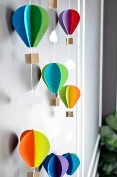 Multiple Strands Hot Air Balloon Garland Up Up and Away Rainbow Birthday Party D. Multiple Strands Hot Air Balloon Garland Up Up and Away Rainbow Birthday Party Decor Nursery Decor Photo prop Shower Decor 5 Balloons, Balloon Garland, Party Garland, Diy Hot Air Balloons, Balloon Drop, Diy Garland, Diy And Crafts, Crafts For Kids, Paper Crafts