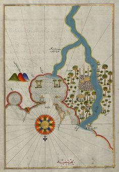 """Map of the city of Damietta (Shahr-i Dumyād) on the Egyptian coast (c.1525) from the illuminated manuscript """"Book on Navigation"""" by Turkish writer and Ottoman Admiral Piri Reis (1465-1555). via The Walters Art Museum on flickr"""