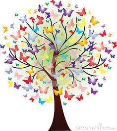 Butterfly Tree, Butterfly Design, Butterfly Images, Rainbow Butterfly, Tree Of Life Art, Tree Art, Tree Of Life Images, Art Papillon, Spring Tree