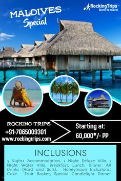 Maldives Special 3 N / 4 D Starting at: PP 3 Nights Accommodation 2 Night Deluxe Villa 1 N Maldives Tour Package, Most Beautiful Pictures, Cool Pictures, Water Villa, Mauritius, Candlelight Dinner, Fun Travel, Tours, Night