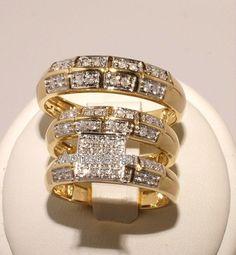 14K Yellow Gold Round Diamond Trio Bridal Engagement Women's & Men's Ring Set  #aonedesigns #WeddingAnniversaryEngagementPartyGift