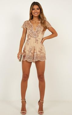 Baby Come Back Playsuit In Rose Gold Sequins Produced Homecoming Romper, Homecoming Dresses, Formal Romper, Fancy Romper, Sequin Playsuit, Sexy Dresses, Short Dresses, Rose Gold Sequin Dress, Clubbing Outfits