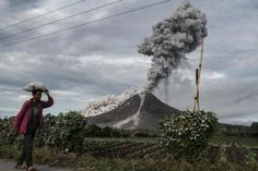 An Indonesian farmer passes a field as Mount Sinabung volcano spews thick smoke into the air in Karo, North Sumatra, on December 2. Mount Sinabung roared back to life in 2010 for the first time in 400 years.