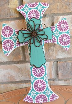 Purple and Teal Cross by SimplySweetNSplendid on Etsy