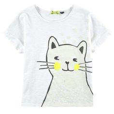 Girls flamed, cat print, jersey T-shirt, IKKS at Melijoe.com.