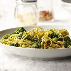 Get a double-dose of broccolini in this healthy pasta recipe—the stalks are whirred into a flavorful pesto to toss with spaghetti and the florets. #FallFresh