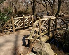 Another look at Azalea Pond Bridge, Central Park, Manhattan, New York City (previously pinned). Azalea Pond Bridge is a small rustic bridge beneath which waters from the Gill feed the habitat of Azalea Pond.