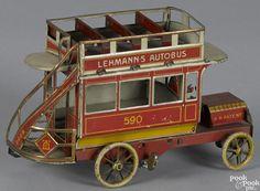 Lehmann tin lithograph clockwork Autobus, 8'' l. - Price Estimate: $800 - $1000