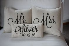 Mr.  Mrs. Custom Pillow with Name My maiden name how cool!!