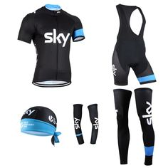 HOT new pro black sky team cycling jersey set complete full short set men's jersey with shorts hat sleeves leg warmer