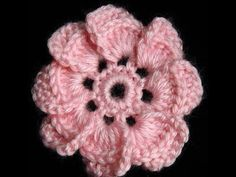 3D Five Folded Petal Flower to Crochet Tutorial 63 Part 2 of 2 Crochet Bell Center With Picots - YouTube