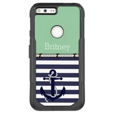 #stylish - #Your Name Retro Boat Anchor Cute Stripes Pattern OtterBox Commuter Google Pixel XL Case