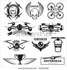 Vector set of drone flying club labels, badges and design elements. - stock vector