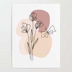 Minimal Line Art Flowers And Butterfly Art Print by betterhome Small Canvas Art, Mini Canvas Art, Line Art Flowers, Flower Art, Line Flower, Abstract Face Art, Butterfly Art, Butterfly Line Drawing, Minimalist Art