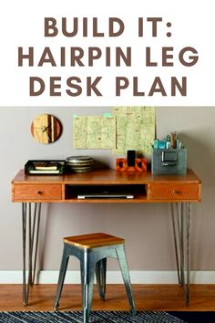 Build this Hairpin Leg Desk with our free plan. Woodworking Ideas To Sell, Beginner Woodworking Projects, Woodworking Furniture, Teds Woodworking, Furniture Plans, Hairpin Leg Desk, Desk Plans, Wood Working For Beginners, Diy Desk