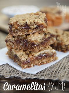 Oatmeal Caramelitas (these classic bars take soft cookie dough and sandwich it together over chocolate and caramel. You really can't go wrong there) from Our Best Bites