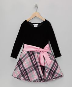 Pink & Gray Plaid Velvet Hipster Dress - Toddler & Girls by Gerson & Gerson