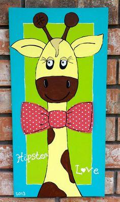 Giraffe Nursery Canvas, Jungle Nursery, Kid's Room, Nursery Decor, Hand Painted, Hipster, 11x20
