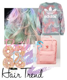 """Pastel dream"" by rachybaby2811 on Polyvore featuring Fjällräven, adidas, myface cosmetics, hairtrend and rainbowhair"