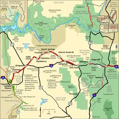 Map of Route 66 in Western Arizona