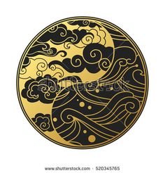Yin Yang symbol with clouds and waves. Decorative graphic design element in oriental style. Yin Yang Tattoos, Tatuajes Yin Yang, Chinese Patterns, Japanese Patterns, Japanese Design, Japanese Art, Motif Oriental, Style Oriental, Cloud Tattoo Sleeve