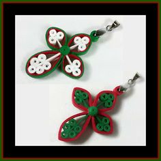 Christmas Cross Pendant Red Green by SweetheartsandCrafts on Etsy