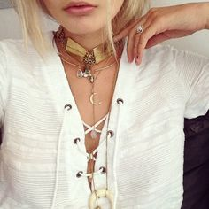 Pinterest @esib123  choker necklace and stacked necklaces