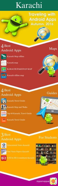 Karachi Android apps: Travel Guides, Maps, Transportation, Biking, Museums, Parking, Sport and apps for Students.