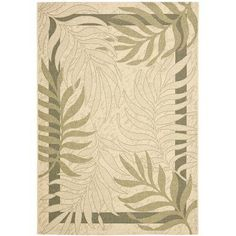 """Bay Isle Home Amaryllis Cream/Green Indoor/Outdoor Rug Rug Size: 2' x 3'7"""""""