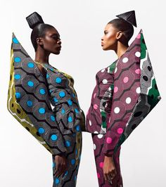 Go figure! A graphic statement of outspoken silhouettes exemplifies the new 'Dazzling Graphics' fabric collection from Vlisco. In-focus outlines and an edgy sharpness create a trompe l'oeil effect of movement. Distinct forms bedazzle the mind and set a psychedelic mood.
