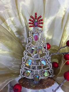 Taboo Vintage Czech Rhinestone Tree  Aurora Borealis Crystal Christmas Tree  Tabletop tree  Christmas decoration  Gift for her #459 by MeAndMoma on Etsy