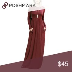 New!! Wine Red Maxi Dress with Pockets Gorgeous burgundy wine red maxi with long sleeves and pockets. 95% rayon, 5% spandex Dresses Maxi