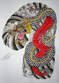 Japanese dragon half sleeve and chest panel by GazFarmerArt