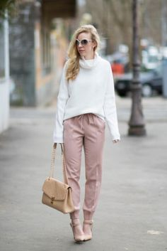 Blush & Bows: Cowlneck sweater, Pink pants & Nude pumps Meagan's Moda waysify